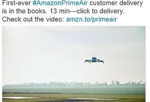 amazon deliver first parcel by drone in the uk