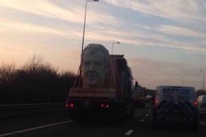 why were giant statues of jeremy clarkson, james may and richard hammond heading to wales on the m4?