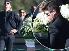 robin thicke is overcome with emotion as he attends his father alan thicke's funeral in santa barbara