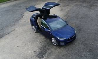 tesla model x-mas easter egg sees electric suv flipping rear doors like a falcon