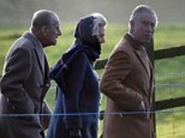 royal family members prince philip, charles and harry head out for the first christmas church service at sandringham but where's the queen?