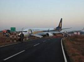 jet airways plane carrying 161 crashes off runway in goa after 'smoke is seen in the cabin ahead of take-off' from indian holiday resort