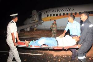 jet airways flight with 161 people on board skids off runway during take-off at goa airport