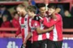 watch exeter city's squad celebrate 4-0 win over leyton orient...