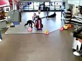 the shocking moment two hero cops dive for cover, open fire and kill gunman as they are wounded in terrifying ambush in walmart