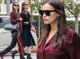 'pregnant' irina shayk looks cozy for casual shopping trip in beverly hills