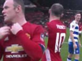 wayne rooney appears to offer shirt swap after manchester united beat reading... but why did george evans turn him down?