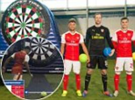 Arsenal trio Petr Cech, Alex Oxlade-Chamberlain and Granit Xhaka take on darts football challenge in training