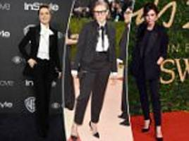 why female stars are shunning gowns for suits on the red carpet