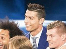 Cristiano Ronaldo once again strikes his trademark tip-toe pose as the Real Madrid star is the big winner at FIFA's The Best awards