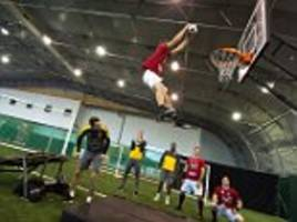 Arsenal's Aaron Ramsey, Alex Iwobi and Per Mertesacker team up with Dunking Devils ahead of NBA Global Games at TheO2 in London