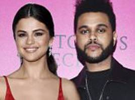 selena gomez and bella hadid's ex the weeknd hug and kiss after dinner date