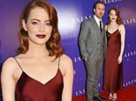 Emma Stone attends La La Land screening in London with co-star Ryan Gosling