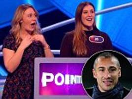 pointless contestant's boyfriend is labelled 'a hero' as she scoops a £2,250 jackpot on the show after he tells her to answer henrik larsson to any football question