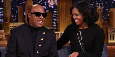 "Watch Stevie Wonder Serenade Michelle Obama With ""My Michelle Amour"" on ""Fallon"""