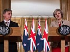 Kiwi PM praises Theresa May's 'clarity and determination' over Brexit as leaders prepare 'high quality' UK-New Zealand free trade deal