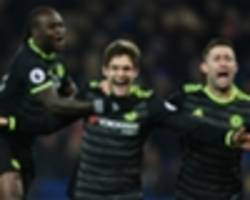 leicester city 0-3 chelsea: alonso scores twice as costa-less blues go seven clear
