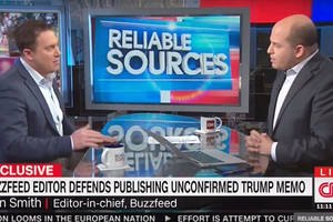 buzzfeed's ben smith, cnn's brian stelter face off over published trump memo (video)