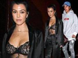 picture exclusive kourtney kardashian, 37, wears a sheer bra for late-night rendezvous with former flame justin bieber, 22