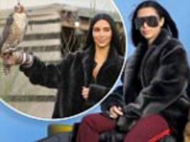 She's back! Kim Kardashian is her old self again as she sits astride a buggy and poses with a falcon on Dubai modelling shoot