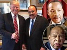 trump prays with mlk's son after john lewis spat