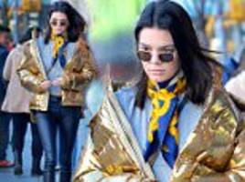 Kendall Jenner wears gold puffer jacket in New York City