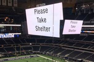 players, fans told to take shelter in at&t stadium during tornado, flood warning