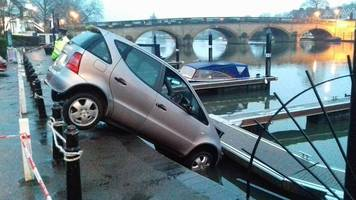 henley pensioner rescued after driving car into river thames