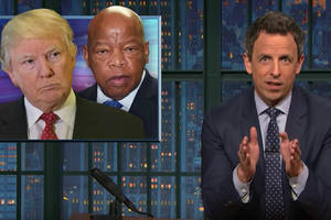 seth meyers: 'trump changes positions more than a porn star with a bad back' (video)