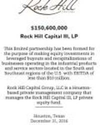 Rock Hill Capital Group Closes Third Private Equity Fund
