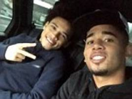 manchester city's gabriel jesus hangs out with leroy sane