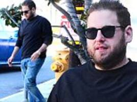 jonah hill looks seriously slim and quite confident