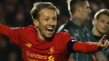 lucas puts liverpool through with first goal in seven years