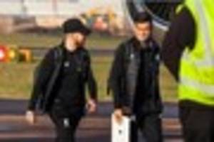 coutinho and the rest of the liverpool squad touch down in exeter...