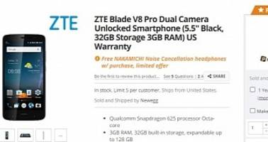 ZTE Blade V8 Pro with Snapdragon 625 CPU, 3GB RAM Up for Grabs US for $229