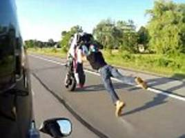 shocking moment motorbike stunt goes horribly wrong
