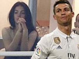 cristiano ronaldo is watched by georgina rodriguez