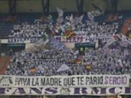 real madrid fans unfurl banner backing sergio ramos