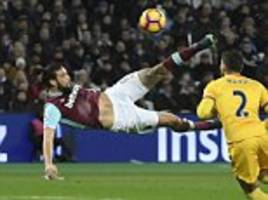 west ham ace andy carroll got whiplash after overhead kick