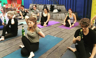 if you love to relax with a cold beer, this is the yoga class of your dreams