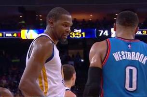 Watch Kevin Durant accidentally ignore Steph Curry to talk to Russell Westbrook