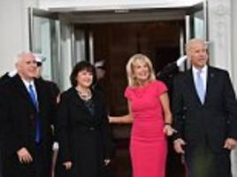 Vice President Joe Biden and wife Jill greet Mike Pence