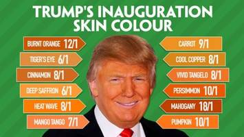 irish bookie takes bets on trump's inauguration skin tone; burnt orange is a long shot at 12/1