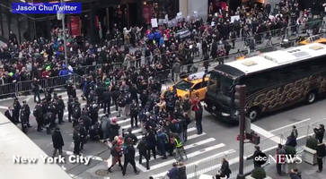 protesters block traffic outside trump tower in manhattan