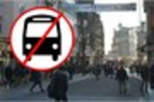 buses banned from exeter high street for six weeks