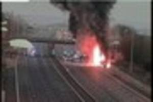 m25 traffic: first pictures of lorry fire causing huge tailbacks...