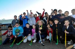 team gb olympic hockey stars help inspire cambridge's next generation of sporting greats