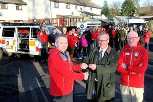 moffat mountain rescue team on the road again with new vehicle thanks to donation from st john scotland