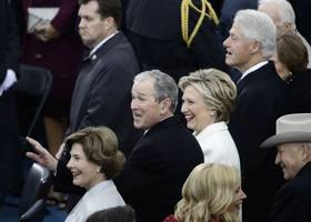 Bill and Hillary Clinton Spotted at Inauguration Day