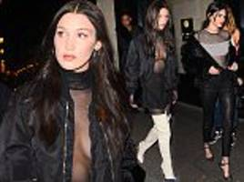 Braless Bella Hadid joins Kendall after Givenchy in Paris